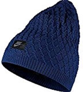 NIKE cable Knit Beanie deep Royal blue black 717118 455 OS