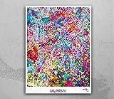 Mumbai 1716 Landkarte Wasserfarben Druck Indien Wandkunst