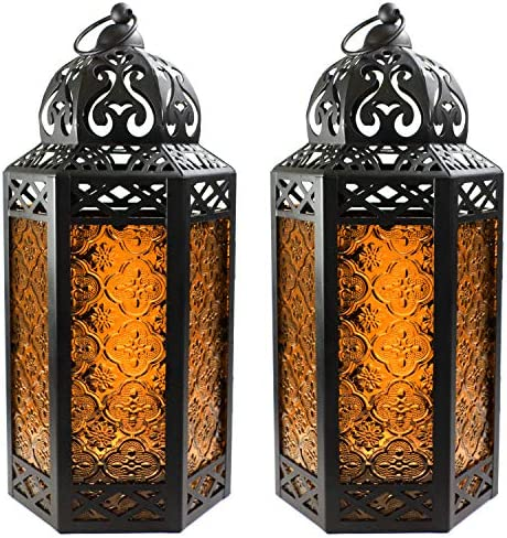 Decorative Candle Lanterns with LED Fairy Lights for Patio Decor Large Amber Set of 2 product image