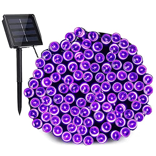 Guirnalda Luces Halloween Solares Púrpura, BrizLabs 22M 200 LED Cadena de Luces Solar Exterior Impermeable 8 Modos Luces de Hadas Decoración Para Arbol de Navidad, Jardín, Terraza, Fiesta