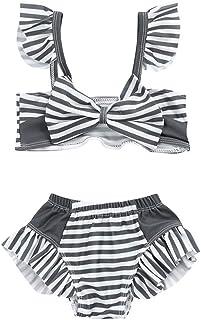 Renlinwell Baby Girls Swimsuit Two Piece Swimwear Stripe Printed Beach Bathing Bikini Suit