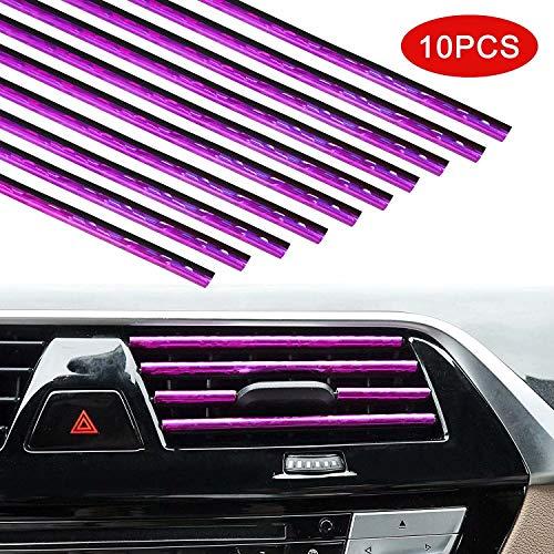 Xinyuan 10 STÜCKE Auto Lüftungsschlitz Dekoration,Lüftungsgitter Auslass Zierleiste Leiste,20cm Klimaanlage Luftauslass DIY Auto Innenausstattung Streifen,Auto Interior Decor Zubehör Bright Purple