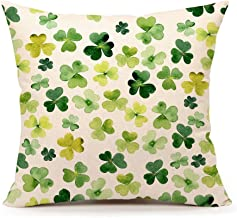 4TH Emotion St. Patrick's Day Pillow Cover Cotton Linen 18 x 18 Inch (Green Clover Pattern Throw Pillow Case Cushion Cover)