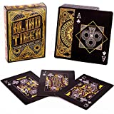 Brybelly Blind Tiger Prohibition & Speakeasy Themed Black & Gold Custom Deck of Playing Cards - Plastic-Coated, Standard Index, Poker Size