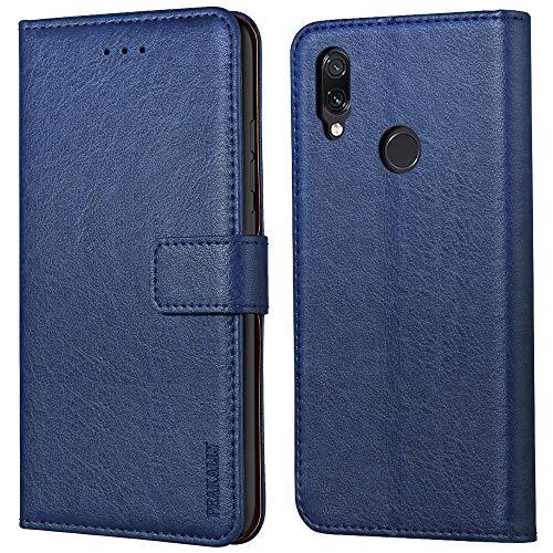 Peakally Funda Xiaomi Redmi Note 7 / Redmi Note 7 Pro, Carcasa Cuero Fundas para Xiaomi Redmi Note 7 [Stand Function] [Ranuras para Tarjetas] Piel PU Carcasa Case con Concha Interna Suave-Azul