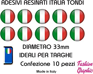 FLAG ITALY 10 x 1 cm IT-034 KIT 2 STICKERS ADESIVI 3D BANDIERA ITALIA TRICOLORE COD