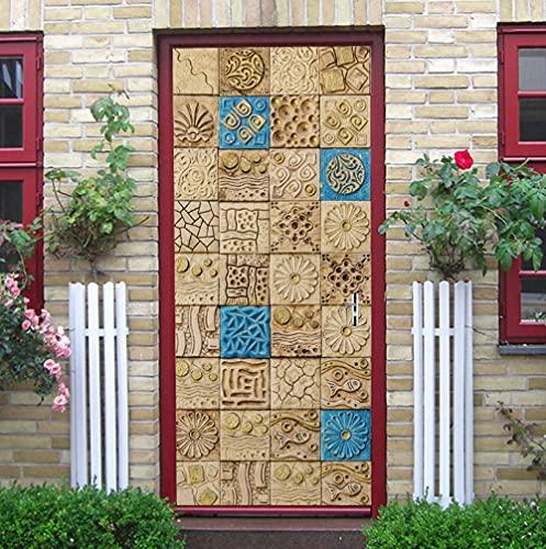 ZJfong Papel pintado autoadhesivo de la pintura de la pared de la puerta de la casa del azulejo árabe 3D-90X200Cm