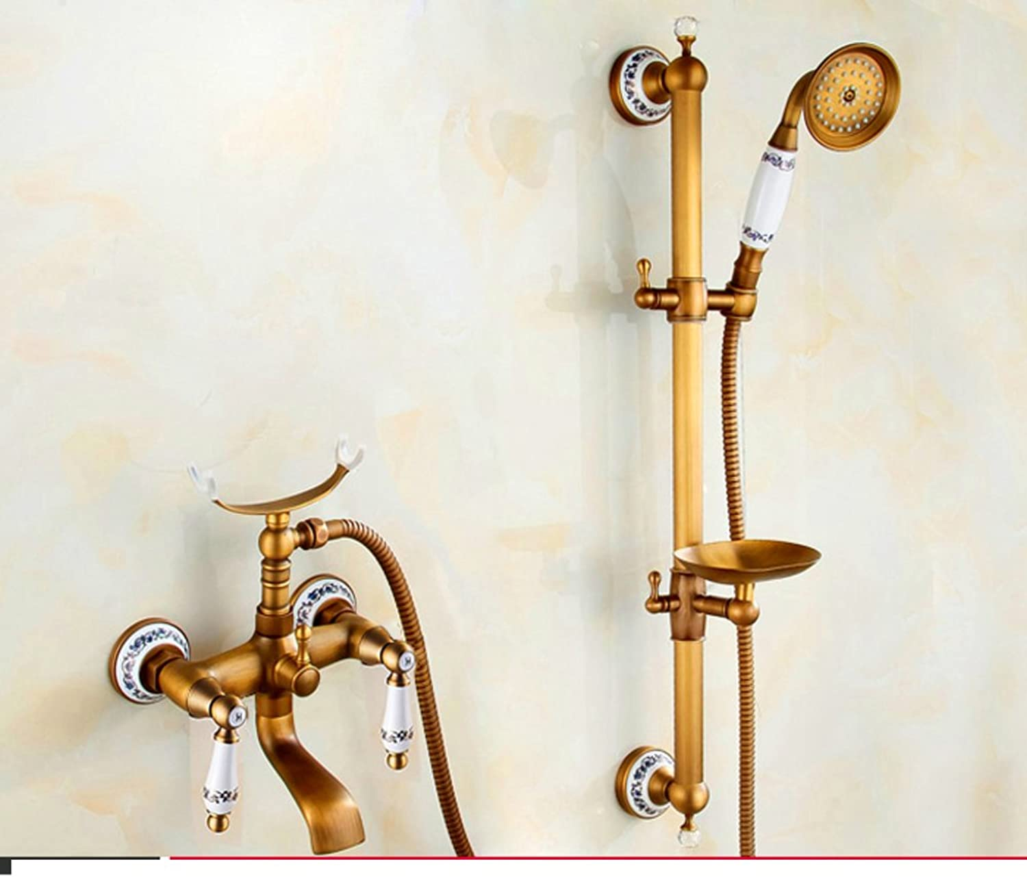 Brass Shower Kit European-Style Shower Head Retro hot and Cold Shower Enclosure-F