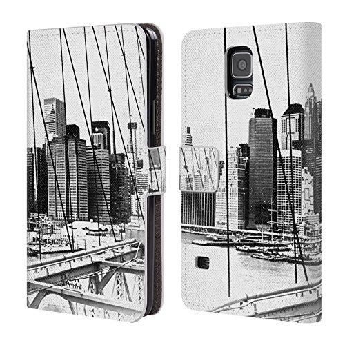 Head Case Designs Oficial Haroulita Nueva York Negro Blanco 2 Carcasa de Cuero Tipo Libro Compatible con Samsung Galaxy S5 / S5 Neo