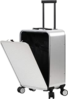 Aluminum Luggage, Carry On Cabin Suitcase 22x14x9 With TSA Lock Spinner Wheels (Weave texture Silver, 20 inch)