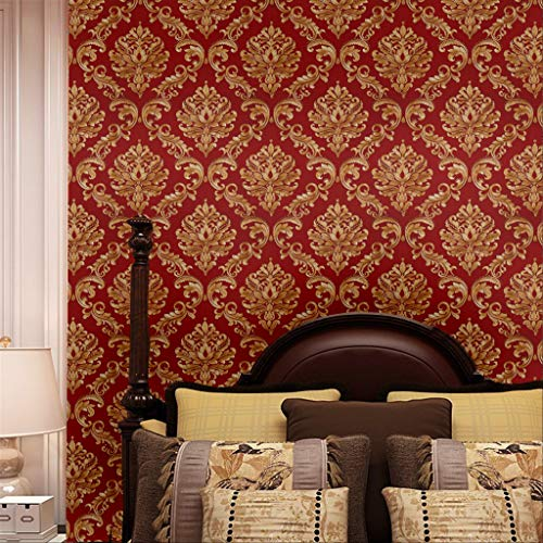 Blooming Wall Red Damasks Flocking Embossed Textured Wallpaper Roll for Livingroom Bedroom, 20.8 In32.8 Ft=57 Sq ft Per Roll, Gold/Red (Wallpaper-red)