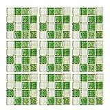 Geoyien Papel pintado de azulejos de mosaico, 10 piezas pegatinas de azulejos etiqueta autoadhesiva...