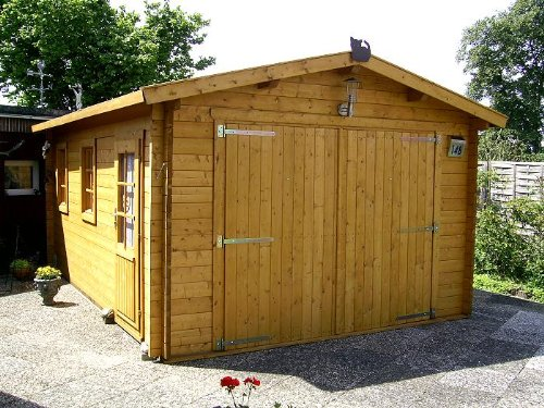 Preisvergleich Produktbild Blockhaus Garage - Carport - 380 cm x 530 cm - 45mm - Blockhaus-Garage
