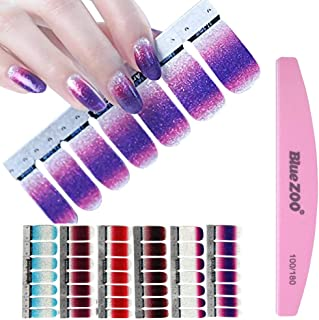 BlueZOO 6 Sheets Shiny Nail Art Stickers, Nail Strips with File (Style 2)