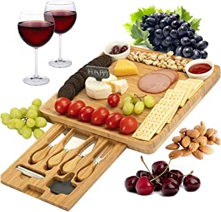 Cheese Board and Knife Set Bamboo Charcuterie Platter & Serving Tray for Cheese,Wine, Crackers, Brie and Meat