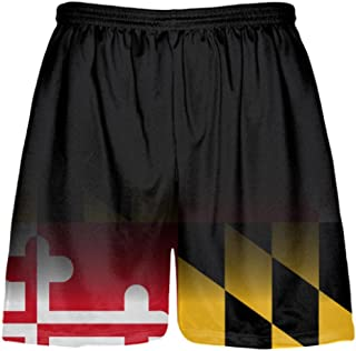 Youth Maryland Flag Shorts Black Fade - Custom Maryland Flag Lacrosse Shorts Youth, Black