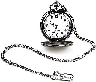 LYMFHCH Classic Smooth Vintage Quartz Pocket Watch, Arabic Numerals Scale Mens Womens Watch with Chain Christmas Graduatio...