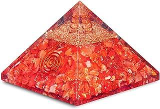 PREK Carnelian Orgone Pyramid with GemstoneFor & EMF Protection Size: 3 Inch