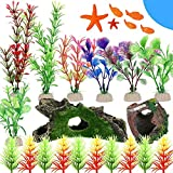 JNXY 25 Unids/Set Aquarium Decorations Artificial Fish Tank Plant Plant Plant with Resin Broen Barrel and Resin Coundery Hideouts Cave