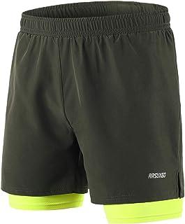Lixada Hombres Pantalónes Cortos de Running 2-en-1,