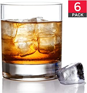 Old Fashioned Whiskey Glass Set, Premium Rocks Bourbon Glasses, 11 OZ / Set of 6, Lead-Free Crystal, Bar Drinking Glass Tumbler for Scotch, Cognac, Irish Whisky and Cocktails, Perfect Gift