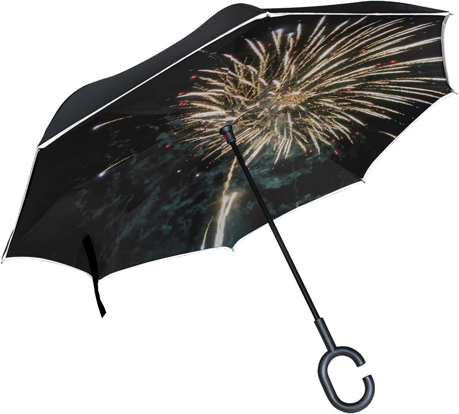 Double Layer Ingreened Fireworks color New Year's Eve Lights Rocket Umbrellas Reverse Folding Umbrella Windproof Uv Predection Big Straight Umbrella for Car Rain Outdoor with CShaped Handle