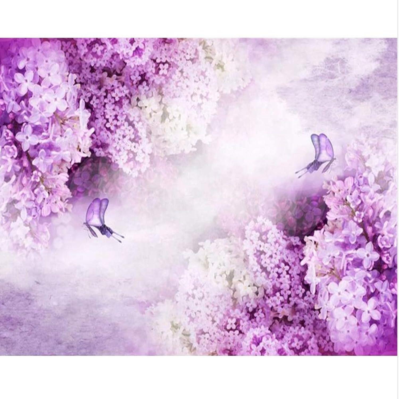 Lsfhb Kundenspezifische Tapetenwandbilder Lila Lavendelschmetterling Warme Fernsehschlafzimmersofahintergrundwand-Fototapete-400X280Cm