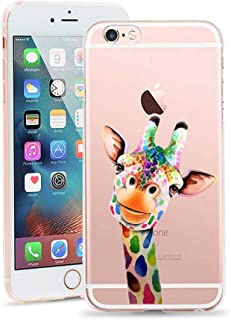iPhone 6 Plus Case,Cute Novelty Animal Pattern Print Soft TPU Silicone Protective Skin Ultra Slim Clear Unique Design Gift Bumper Back Cover for iPhone 6s Plus Case 5.5 Inch [Cute Giraffe]