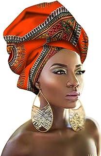 kewing Turbante Africano per Donne - Multicolore Vintage Stampa Foulard Elastico Hijab Stretchy Head Wrap Fascia per capelli