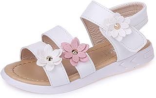 YUKK Sandales pour Enfant Fille Fleur en Cuir Bébé Bout Ouvert Chaussure Douces et Respirantes Sandales Chaussure Princess...