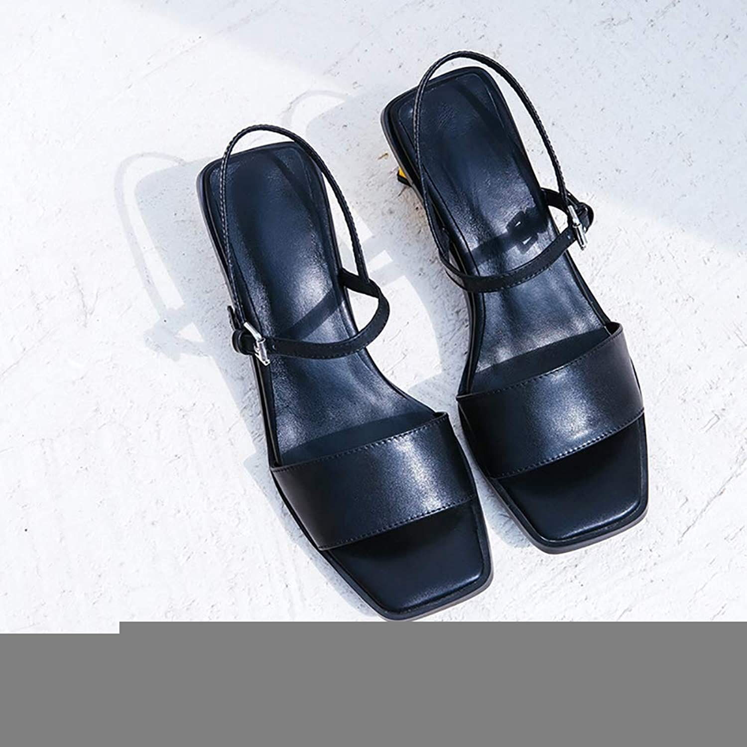 Women's Classic High Heel Sandals, Cross Strappy Ankle Strap Classic Open Toe Simple Leather shoes,Black,38