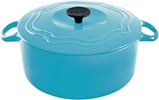 Chantal Enameled Cast Iron Round Dutch Ovens (7 Quart, Sea Blue)