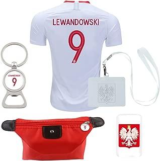 EE bestort Poland #9 Lewandowski 2018 Home Mens Soccer Jersey Color White & Red