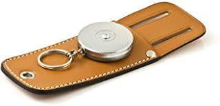 """KEY-BAK Tradesman Retractable Key Holder with 24"""" Stainless Steel Chain, Chrome Front, Genuine Leather Tool Pouch and 1.75..."""