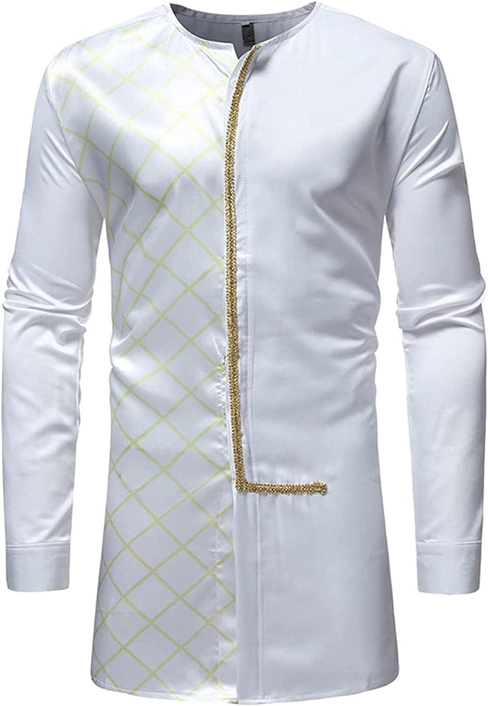Men's Long Sleeve Home Robe Side Split Kaftan Cotton Long Gown Thobe