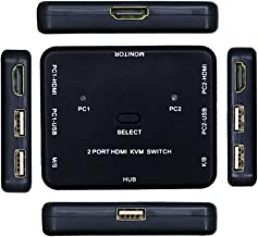 2 Port HDMI Switcher 2 Port USB KVM Switch 2 in 1 Out HD Switch USB Keyboard Mouse Sharing Device for Computer, PC, Laptop, Desktop, Monitor, Printer, Keyboard, Mouse Control