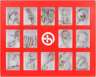 Coogam Metal Puzzles Brain Teaser Set IQ Disentanglement Toy Pack Chinese Intellectual Test Magic Trick Game Lock Iron Wire Link Unlock Ring Gift Bundle Educational for Kids Adult Challenge 15 PCS