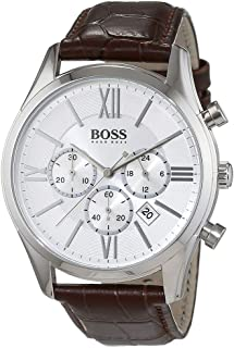 Hugo Boss Mens Quartz Watch, Chronograph Display and Leather Strap 1513195
