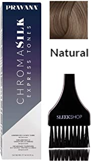 Pravana Chromasilk EXPRESS TONES Ammonia-Free 5 Minute Toning DEMI-PERMANENT Hair Color Dye (w/Sleek Tint Brush) Cream Haircolor Chroma Silk Quick Toning (NATURAL)