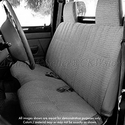 RealSeatCovers for 1995 - 2000 Toyota Tacoma Front Solid Bench Gray Seat Cover Triple Stitched 12mm Thick Padding Molded Headrest Seat Belt Cutout Small 2' to 3' Shifter Cutout Custom Made Exact Fit
