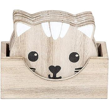 Posavasos Originales de Madera de Gato, Juego de 6 Natural, Regalo para los Amantes de los Gatos: Amazon.es: Oficina y papelería