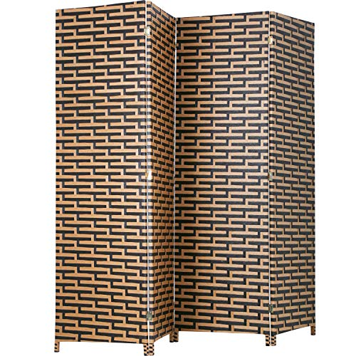 RoomDividersandFoldingPrivacyScreens Curtain Room Partition Privacy Wall 4 Panel 6 ft Foldable Portable Handwork Wood Mesh Woven Design Freestanding Room Separator Wooden Screen,Stack