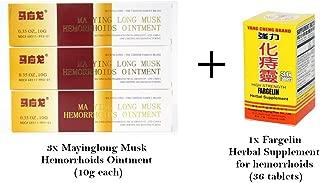 Mayinglong Ma Ying Long Musk Hemorrhoid Ointment Cream 3pk + Fargelin 36 Tablets 1pk