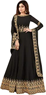 Black Ethnic Party wear Designer Georgette Semi-stitched Anarkali Suit Indian Muslim Women Bespoke 7816