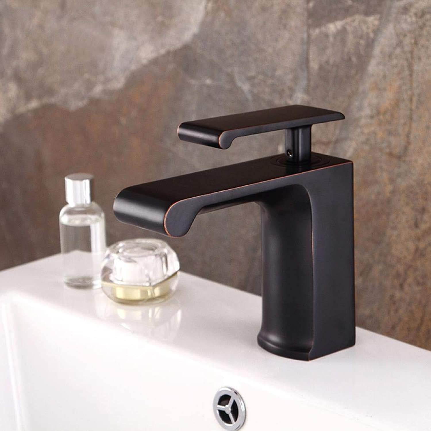 Tap Washbasin Faucet Retro Black Wrench Chrome-Plated Brass Faucet