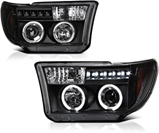 [For 2007-2013 Toyota Tundra & 2008-2017 Sequoia] LED Halo Ring Black Projector Headlight Headlamp Assembly, Driver & Passenger Side