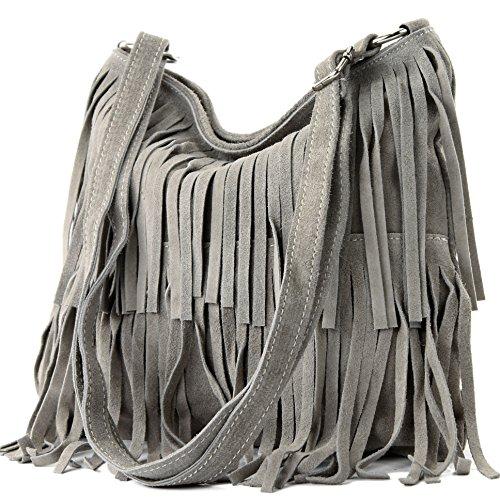modamoda de - ital bandolera con flecos de gamuza T125, Color:Gris Beige