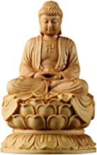 Boxwood Sakyamuni Buddha Statue Meditation Peace Harmony Statue Religious Decoration Southeast Asian Style Crafts 6×6×10cm...