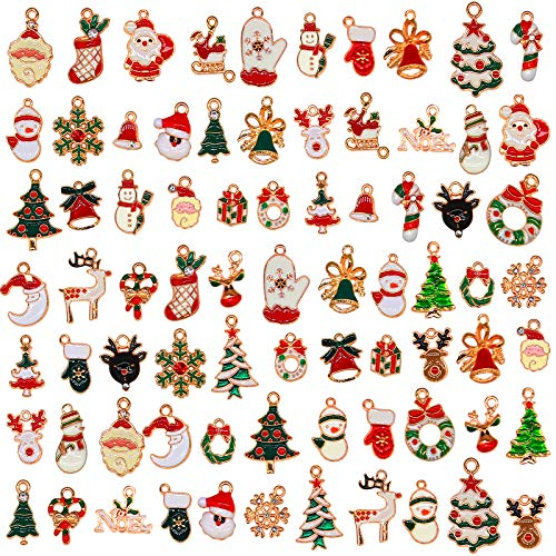 76pcs Christmas Pendant Charm, Christmas Enamel Charm Pendant for DIY Necklace Bracelet Earring Jewelry Making, Clothes Sewing, Bags Decoration, Charm DIY Scrapbooking Supply