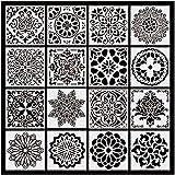 Plantillas de Mandala, ZouWei 16 Piezas Plantillas de Dibujo, Mandala Manualidades Painting Stencils, Reutilizables,cortadas con láser para Pintar Scrapbook Arte De Pared 15x15cm (Blanco)